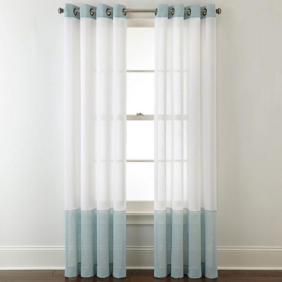 JCPenney Home Bayview Colorblock Grommet-Top Sheer Curtain Panel