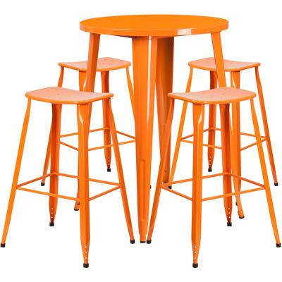 30'' Round Metal Indoor/Outdoor Bar Table Set with 4 Saddle Seat Stools