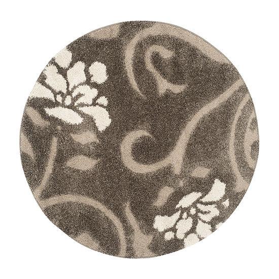Safavieh Shag Collection Brock Floral Round Area Rug