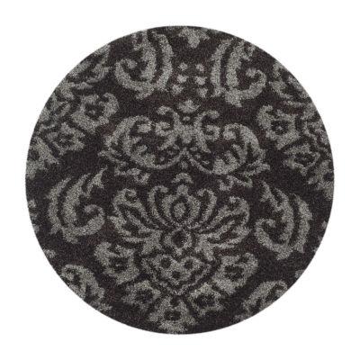 Safavieh Shag Collection Mario Damask Round Area Rug