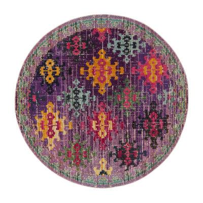 Safavieh Monaco Collection Flint Geometric Round Area Rug