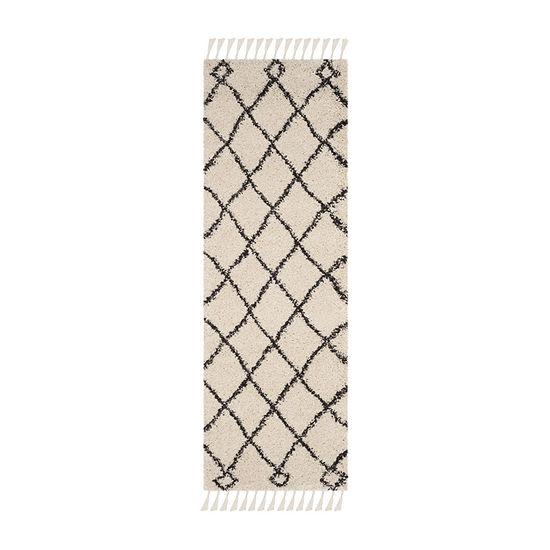 Safavieh Moroccan Fringe Shag Collection Atanas Geometric Runner Rug