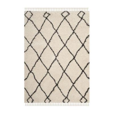 Safavieh Moroccan Fringe Shag Collection Atanas Geometric Square Area Rug