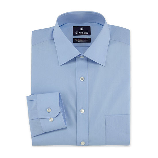 Stafford Mens Travel Easy-Care Broadcloth Stretch Big and Tall Dress Shirt