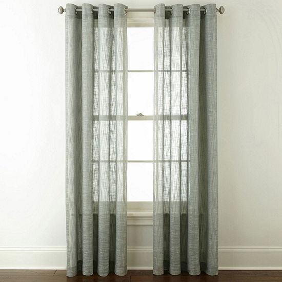 JCPenney Home Sydney Light-Filtering Grommet-Top Single Curtain Panel