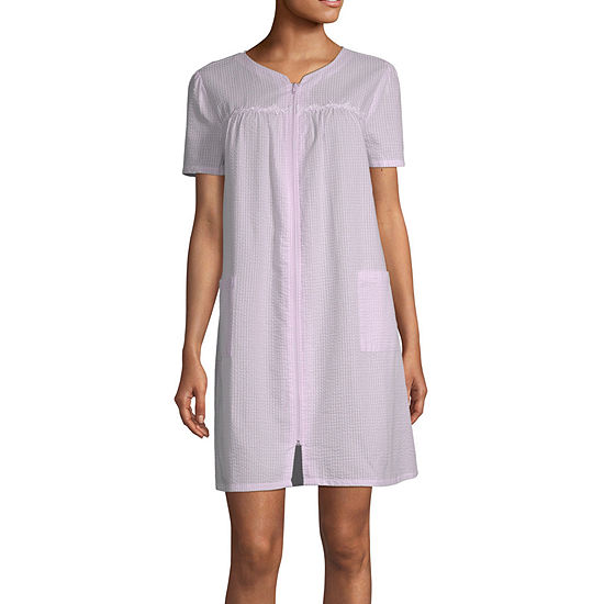 Adonna Womens Robe Short Sleeve Knee Length
