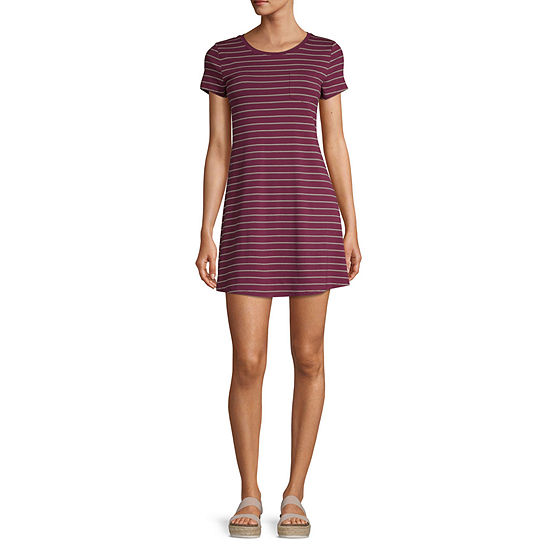 Arizona-Juniors Short Sleeve Striped Swing Dresses