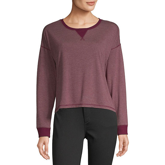 Arizona Juniors Freeform Womens Round Neck Long Sleeve Sweatshirt