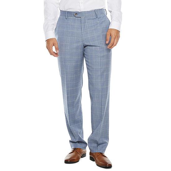 Stafford Super Suit Mens Windowpane Stretch Classic Fit Suit Pants