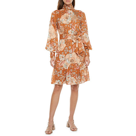 Plus Size Retro Dresses 50s, 60s ,70s, 80s, 90s Ryegrass Long Sleeve Empire Waist Dress X-small  Brown $67.20 AT vintagedancer.com