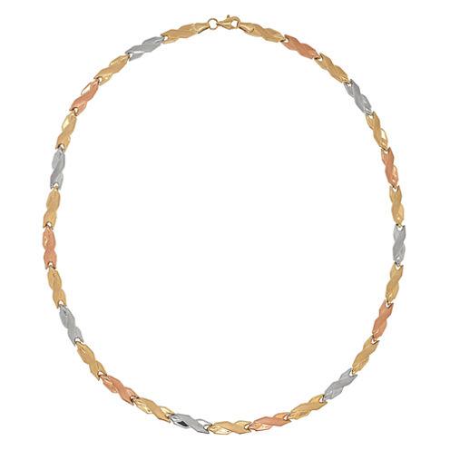 "Tri-Color 10K Gold 17"" 4.48mm Hollow Stampato Link Necklace"