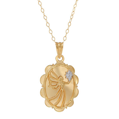 10K Yellow Gold Oval Angel Pendant Necklace