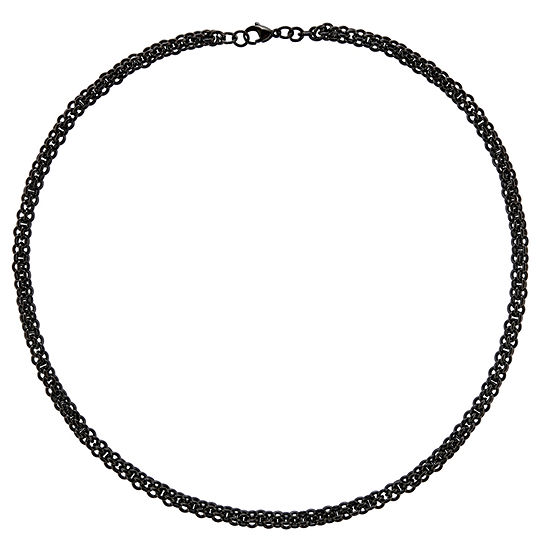 Mens Stainless Steel Black Ip-Plated Chain Necklace