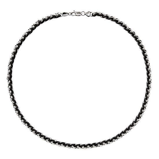 Mens Stainless Steel & Black Ip-Plated Chain Necklace