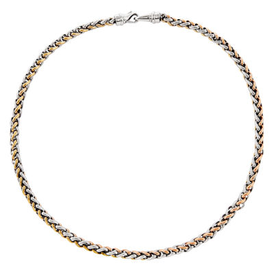 Mens Stainless Steel Rose Ip-Plated Chain Necklace
