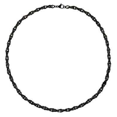 Mens Stainless Steel Chain & Black Ip-Plated Necklace