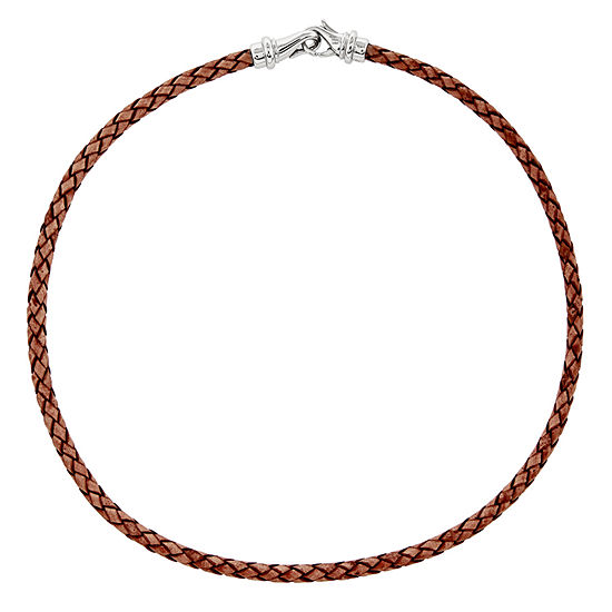 Mens Stainless Steel & Woven Brown Leather Necklace