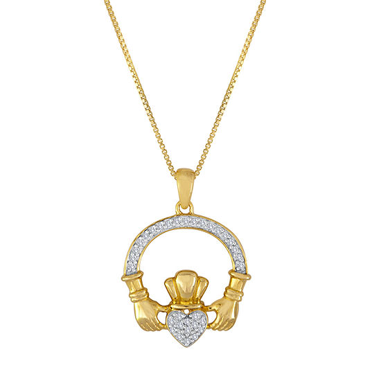 1/10 CT. T.W. Diamond Sterling Silver Claddagh Pendant Necklace