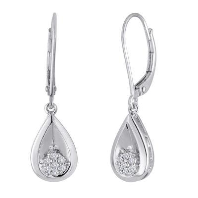 diamond blossom 1/10 CT. T.W. Diamond Cluster Sterling Silver Teardrop Earrings