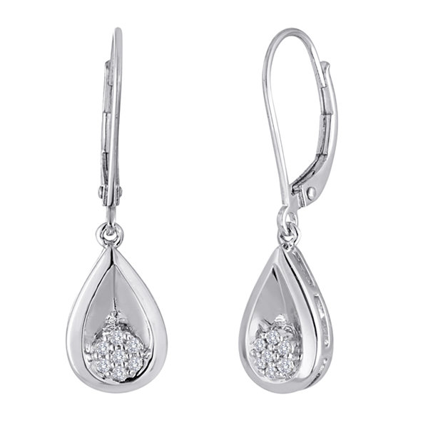 Fine Jewelry diamond blossom 1/10 CT. T.W. Diamond in Sterling Silver Earrings zqSOPpz4