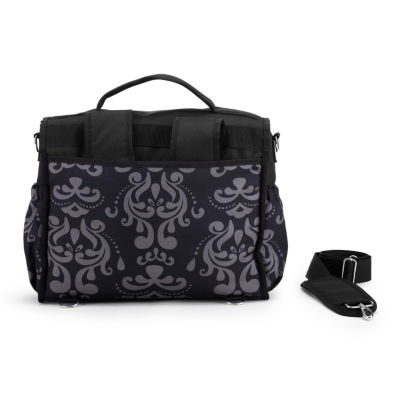 LillyBit Gray Damask Messenger Bag Diaper Bag