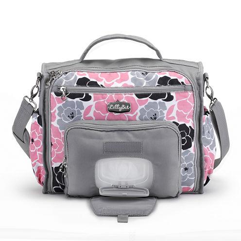 LillyBit Pink Floral Messenger Bag Diaper Bag