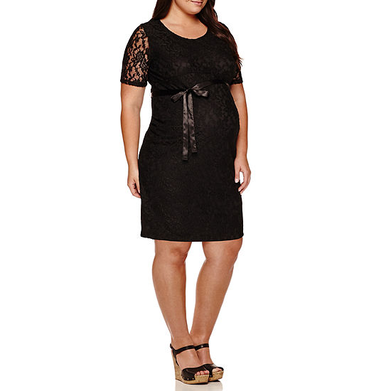 Planet Motherhood Lace Dress with Bow Belt - Plus Maternity