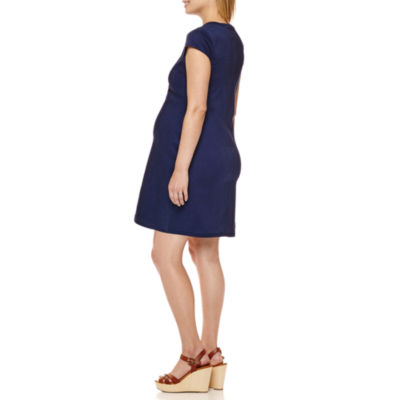 Maternity Cap-Sleeve Denim Dress