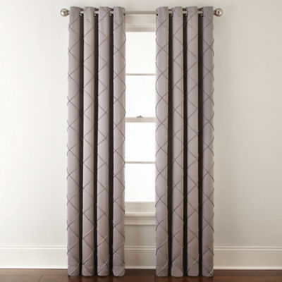JCPenney Home Kathryn Diamond Pleated Grommet-Top Curtain Panel