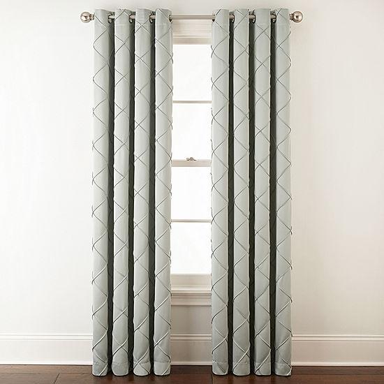 Liz Claiborne 174 Kathryn Diamond Pleated Grommet Top Curtain