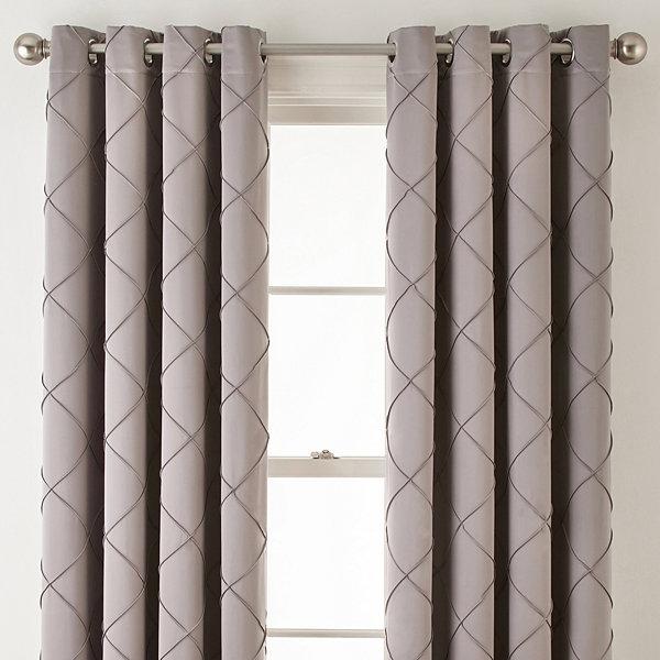 Liz Claiborne® Kathryn Diamond Pleated Grommet-Top Curtain Panel ...