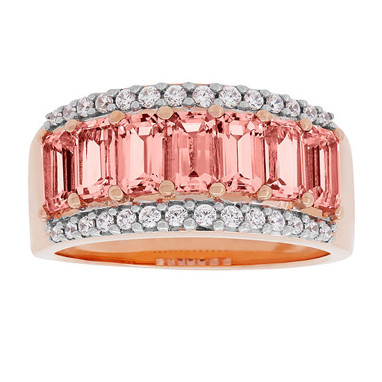 Womens Simulated Morganite 18K Rosegold Over Silver Cocktail Channel Ring