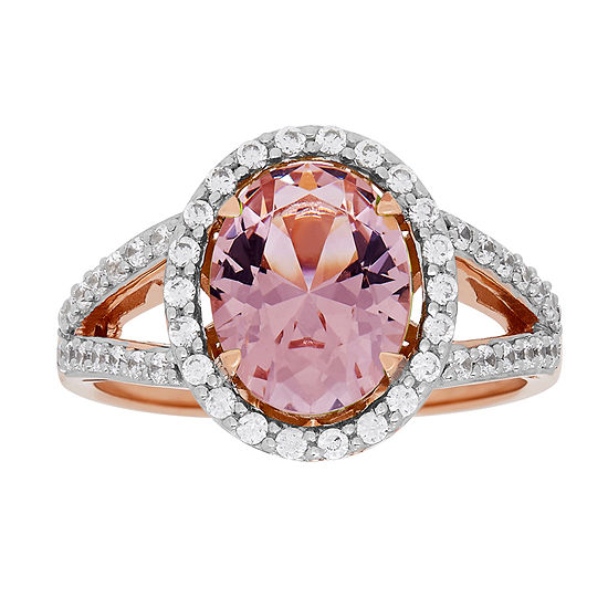 Womens 18K Rose Gold Over Silver Simulated Morganite Cocktail Ring