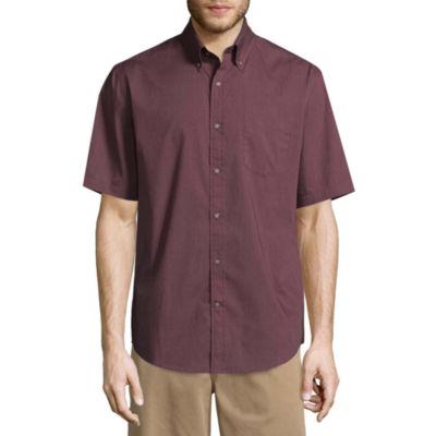 St. John's Bay Short Sleeve Poplin Button-Front Shirt