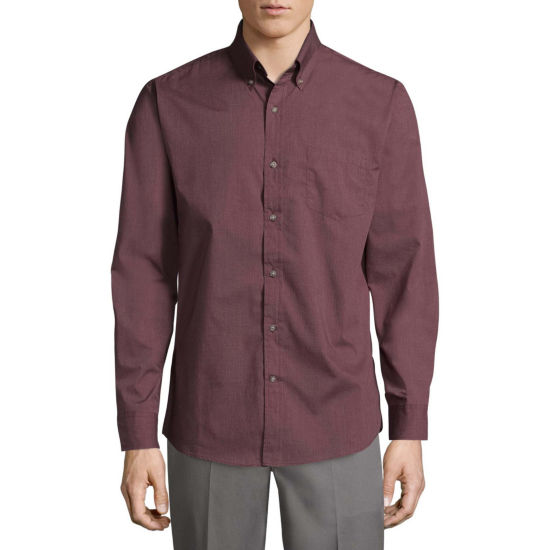 St. John's Bay Poplin Shirt Long Sleeve Button-Front Shirt