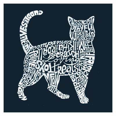 Los Angeles Pop Art Cat Themed Words Short SleeveGraphic Word Art T-Shirt