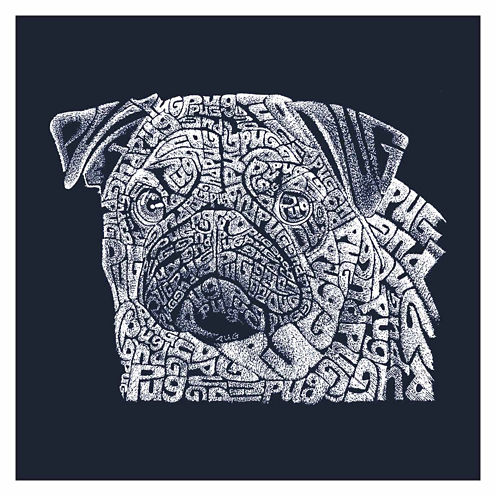 Los Angeles Word Pug Short Sleeve Graphic T-Shirt