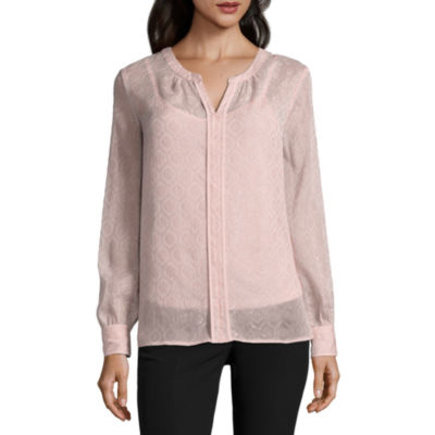 Liz Claiborne Long Sleeve Split Crew Neck Shine Blouse