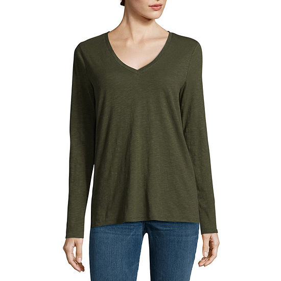 cd285ad5 a.n.a-Womens V Neck Long Sleeve T-Shirt - JCPenney