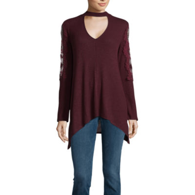 a.n.a. Long Sleeve V Neck Choker Knit Blouse