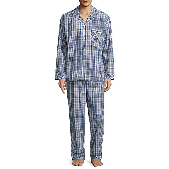 Stafford® Men's  Broadcloth Woven Long Sleeve Pajama Set