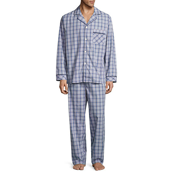 Stafford® Men's  Broadcloth Woven Long Sleeve Pajama Set