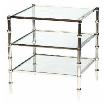 Tiered Glass Chairside Table