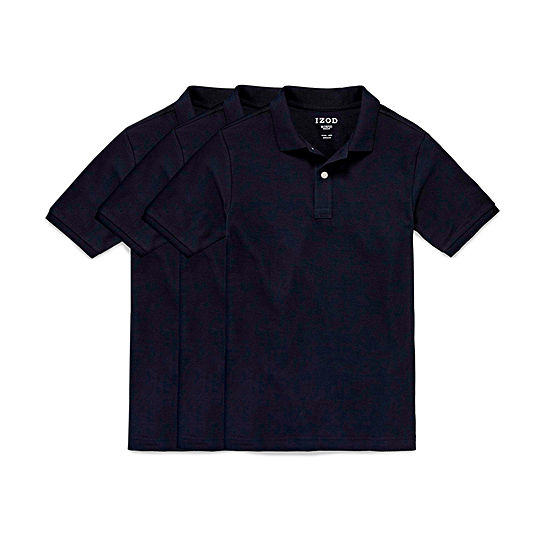 IZOD 3-Pk Bundle Little & Big Boys Short Sleeve Stretch Polo Shirt