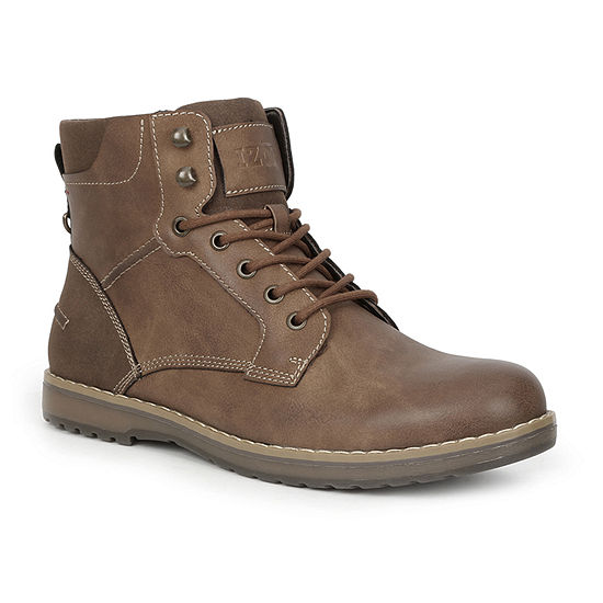 IZOD Mens Leon Wedge Heel Lace Up Boots