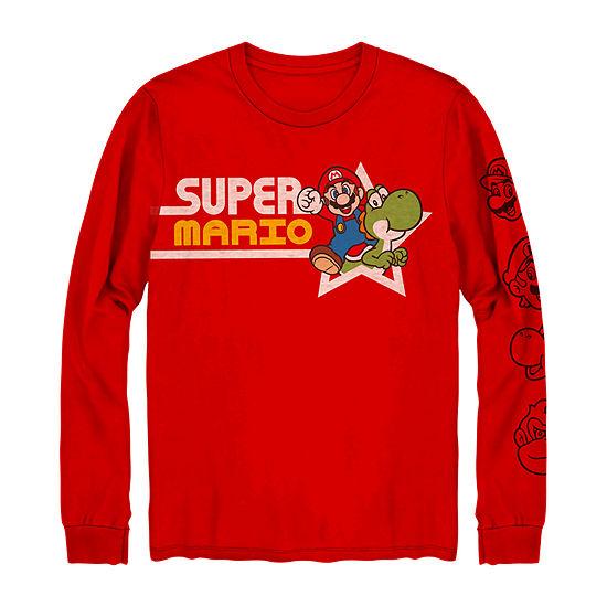 Little & Big Boys Crew Neck Super Mario Long Sleeve Graphic T-Shirt
