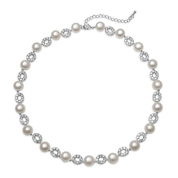 Cultured Freshwater Pearl and Cubic Zirconia Silver-Plated Necklace