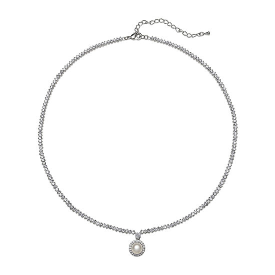 Cultured Freshwater Pearl and Cubic Zirconia Drop Necklace