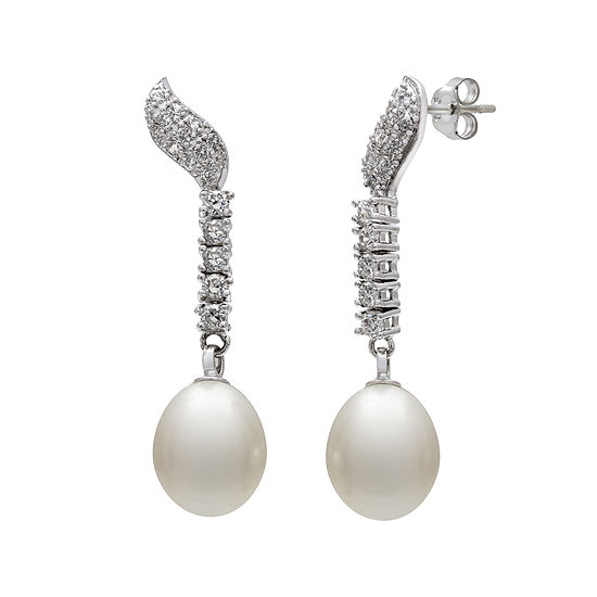 Cultured Freshwater Pearl and Cubic Zirconia Linear Earrings