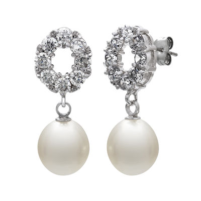 Cultured Freshwater Pearl and Cubic Zirconia Drop Earrings
